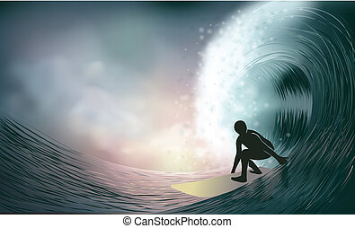 surfer and wave