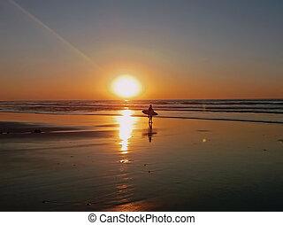 Surfer at the atlantic ocean at sunset
