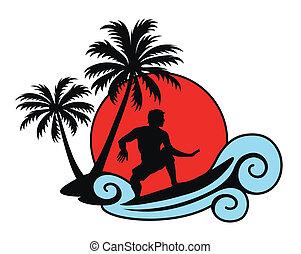 surfer, auf, a, welle, mit, handflächen, und