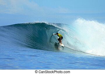 surfer, auf, perfekt, blaues, tropische , welle, indonesien
