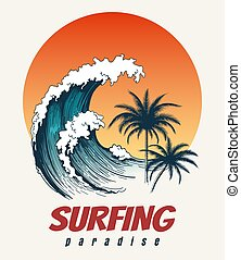 Surfer big wave retro poster