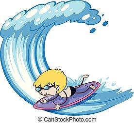 Surfer Boy on White Background