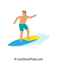 Surfer boy ride a surfboard, surfing on wave