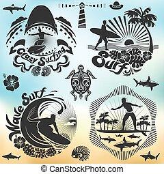 surfer, brandung, feiertage