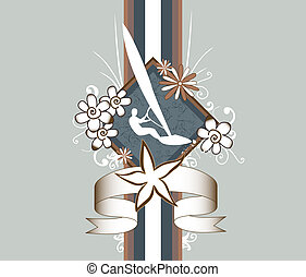surfer silhouette banner decorated with flowers and ribbon