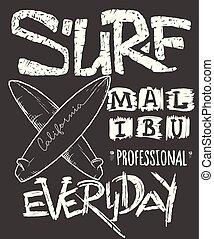 surfer, concept, pour, chemise, impression, vecteur, illustration