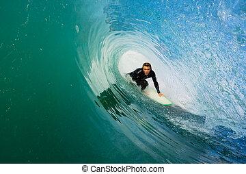 surfer, dále, oplzlý oceán, mávnutí