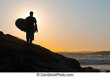 surfer, dívaní, ta, vlání