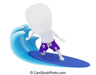 Surfer - 3D Illustration of a Man Surfing on Water