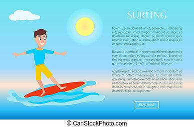 surfer enchaînement, été, affiche, garçon, surfeur, conception, sport