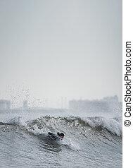 surfer, espace, personne, texte, vague, unrecognizable