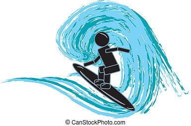 surfer, figure bâton