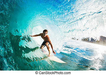 Surfer Gettting Barreled - Surfer on Blue Ocean Wave in the...
