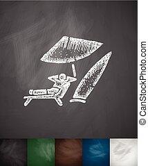 surfer, hand, strand, icon., getrokken, illustratie