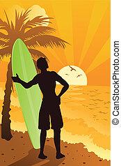 surfer, havet
