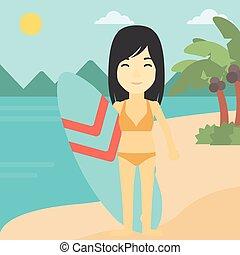 Surfer holding surfboard vector illustration.
