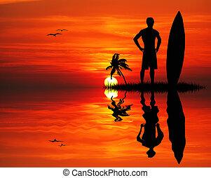 surfer, homme