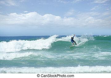 surfer, homme, vague