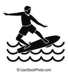 Surfer icon, simple style