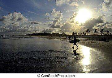 Surfer in a famous beach in Brazil