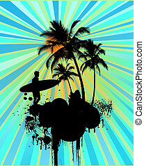 Surfer in tropical background