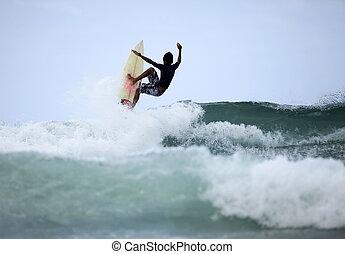 surfer, in, wasserlandschaft