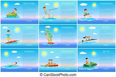 surfer, jet, cavalcade, beignet, ski, cartes, natation