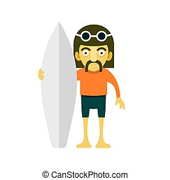 Surfer Man. Cartoon Style. Vector