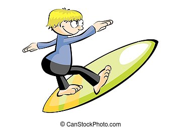 Surfer man isolated on white. Conceptual vector...