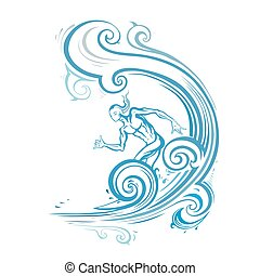 Surfer man on the wave.