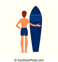 Surfer man standing with surfboard.