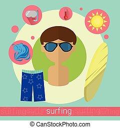 Surfer Man Surfing Icon
