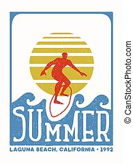 Surfer man vintage stamp from california beach