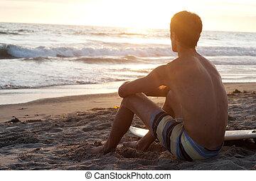 surfer, na pláži