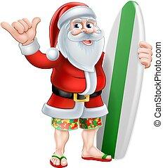 surfer, noël, dessin animé, santa, shaka, main