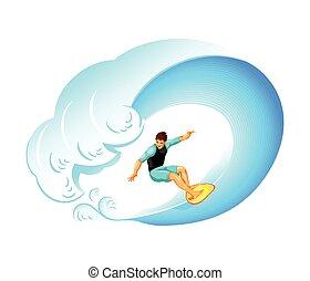 Surfer on big wave