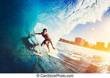 Surfer on Blue Ocean Wave