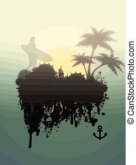 Surfer on foggy tropical place