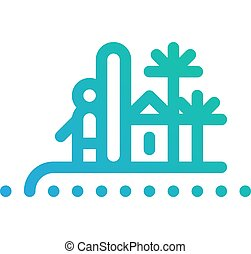 Surfer on island with palms icon
