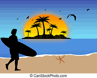 Surfer on the beach - Surfer on tropical beach background,...