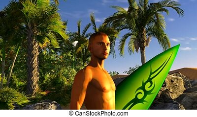 surfer on the tropical beach