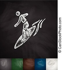 surfer on waves icon. Hand drawn vector illustration