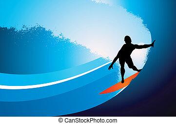 surfer, onda, fondo, con