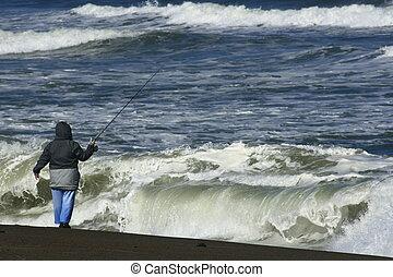 surfer pêche, dans, orégon