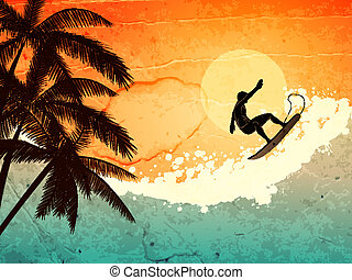 Surfer, palms and sea - illustration of tropical sea, surfer...
