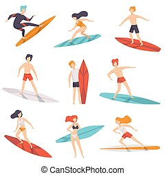 Surfer people riding surfboards set, young women amd men enjoying summer vacation on the sea or ocean vector Illustration on a white background