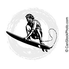 surfer pro - surfing vector illustration for shirt printed...