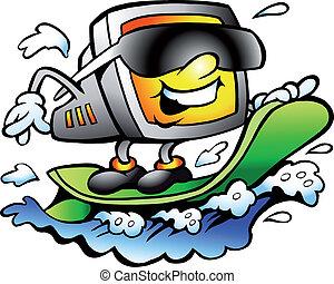 surfer, retro, écran