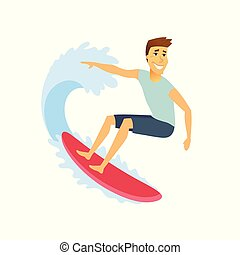 Surfer riding the wave - cartoon people character isolated illustration