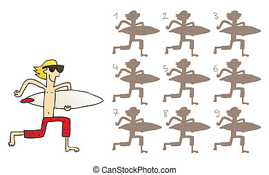 Surfer Shadows Visual Game. Task: find the right shadow...